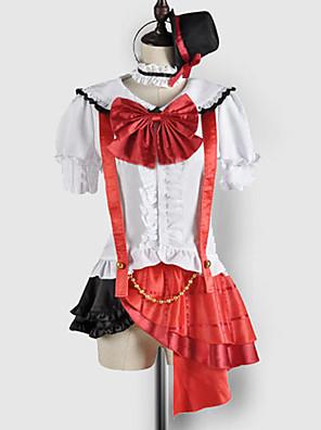 Inspirovaný Love Live Maki Nishikino Video Hra Cosplay kostýmy Cosplay šaty / Školní uniformy Patchwork Biały / Czerwony Krátké rukávy