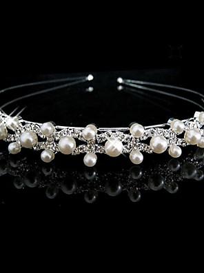 Femme / Jeune bouquetière Strass / Imitation de perle Casque-Mariage Serre-tête Argent Rond