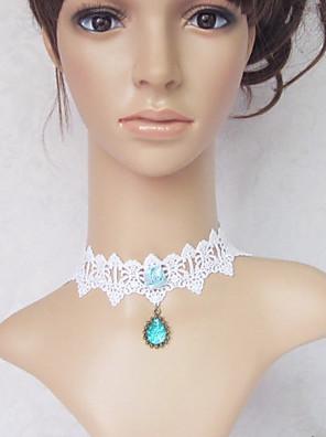 תכשיטים לוליטה מתוקה שרשרת נסיכות לבן / כחול לוליטה אביזרים שרשרת תחרה ל נשים תחרה / אבני חן מלאכותיים