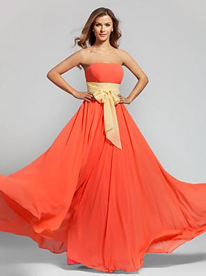 Hasta el Suelo Raso Vestido de Dama de Honor Corte en A Sin Tirantes Talla Grande / Pequeña con Cinta / Lazo