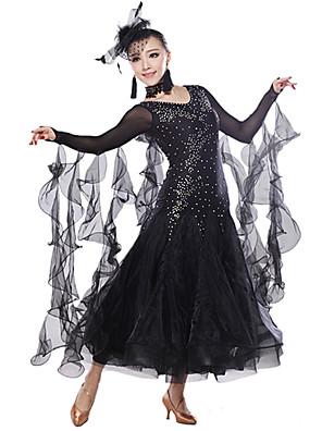 Dança de Salão Blusas / Vestidos Mulheres Treino Elastano / Lantejoulas / Tule Cristal/Strass / Lantejoulas Sem Mangas Natural 130cm
