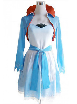 Inspirado por RWBY Weiss Schnee anime Cosplay Costumes Ternos de Cosplay / Vestidos Patchwork Branco / Azul Casaco / Vestido