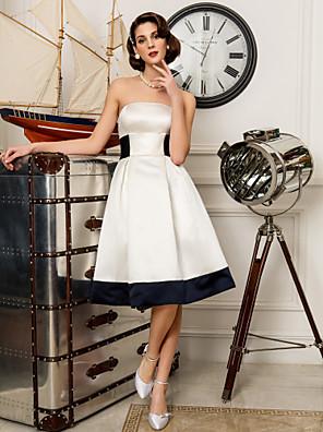 Lanting Bride A-line / Princess Petite / Plus Sizes Wedding Dress-Knee-length Strapless Satin