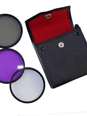 58 milímetros UV + CPL + FLD Set 3-em-1 com PU bolsa de couro