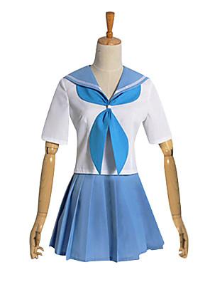 קיבל השראה מ KILL la KILL קוספליי וִידֵאוֹ מִשְׂחָק תחפושות Cosplay חליפות קוספליי / תלבושות לבית הספר טלאים לבן / כחול קצרעליון / חצאית