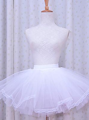 חצאית לוליטה קלאסית ומסורתית לוליטה Cosplay שמלות לוליטה לבן אחיד לוליטה לוליטה שמלה תחתית ל נשים פוליאסטר