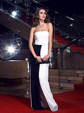 포멀 이브닝 드레스 시스 / 칼럼 끈없는 스타일 바닥 길이 쉬폰 와
