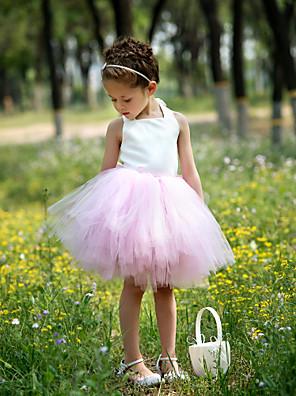 Ball Gown Knee-length Flower Girl Dress - Satin / Tulle Sleeveless Halter with