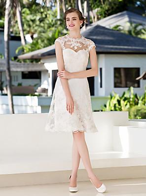 몸집이 작은 A 라인 신부 lanting / 플러스 웨딩 드레스 무릎 길이의 보석 레이스 크기