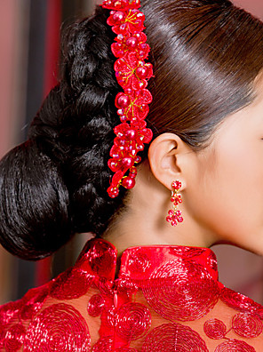 elegant kinesisk rød hovedklæde til bryllupper