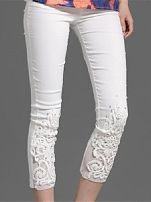 Dames Elegant Lace Flower Embroidery Slim Pants