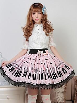 חצאית לוליטה מתוקה נסיכות Cosplay שמלות לוליטה ורוד דפוס לוליטה אורך בינוני חצאית ל נשים פוליאסטר