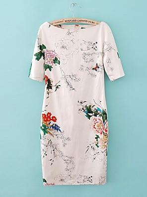 Kvinder Floral Print Slim Dress Cocktail Kjole