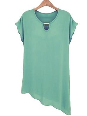 Dámské Velké velikosti / Vintage / Roztomilé Tričko-Jaro / Léto Krátký rukáv Modrá / Zelená / Žlutá Tenké