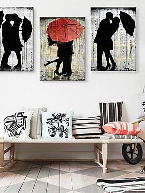 Su tela Art The Lover In The Rain Set di 3