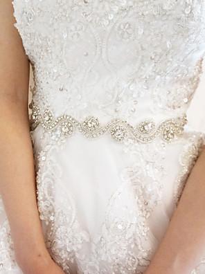 Cetim Casamento / Festa/Noite Faixa-Pedraria Feminino Branco 78 ¾polegadas(200cm) Pedraria