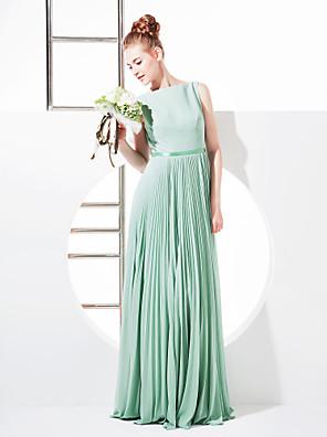 Lanting Bride® Na zem Žoržet Šaty pro družičky Pouzdrové Bateau Větší velikosti / Malé s Mašle / Šerpa / Stuha