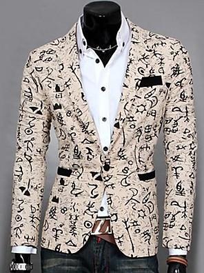 Men's Green/White/Beige Cotton/Polyester Blazer,Long Sleeve