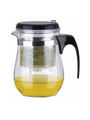Easy Push Button Strainer Glas Tea Pot med lås (500 ml)