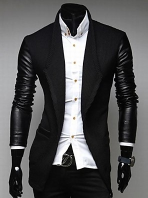Zian® Men's Lapel Fashion Stitching Solid Color Casual Tweed Long Sleeve Trench Coat