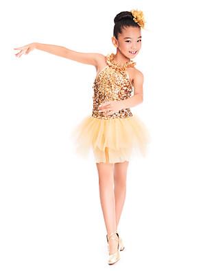 Roupas de Dança para Crianças Vestidos Crianças Treino Elastano / Lantejoulas / Tule Amarrotado / Lantejoulas Sem Mangas Natural