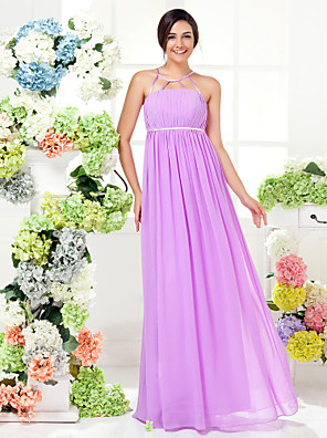 Lanting Bride® Longo Georgette Vestido de Madrinha - Tubinho Decorado com Bijuteria Tamanhos Grandes / Mignon com Pregueado / Faixa / Fita