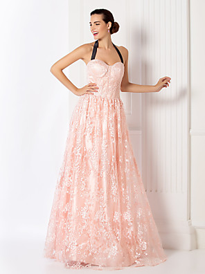 TS Couture® Prom / Formal Evening / Military Ball Dress - Elegant / Vintage Inspired Plus Size / Petite A-line Halter Floor-length Lace