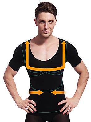 גברים קיץ ההרזיה ny103 שחור חזה בטן מוצקה ומעצב גוף שרוול קצר תחתוני שליטת בטן חולצה