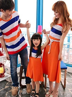 Family's Fashion Joker Leisure Parent Child Rainbow Stripe T Shirt And Dress
