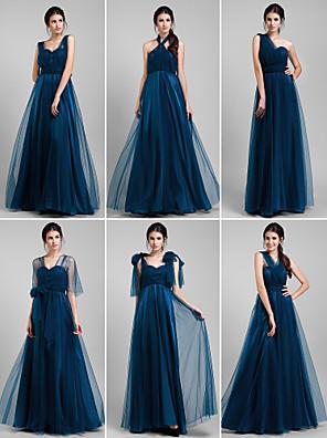 Lanting Bride® עד הריצפה טול שמלה לשושבינה - שמלה הניתנת להמרה גזרת A פלאס סייז (מידה גדולה) / פטיט עם קפלים / בד נשפך בצד