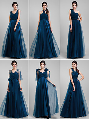 Lanting Bride® Longo Tule Vestido de Madrinha - Vestido Convertível Linha A Tamanhos Grandes / Mignon com Babados / Drapeado Lateral