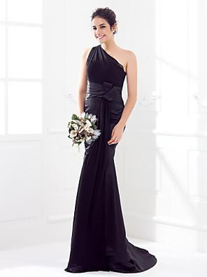 Lanting Bride® שובל סוויפ \ בראש סאטן / ג'ורג'ט שמלה לשושבינה - בתולת ים \ חצוצרה כתפיה אחת פלאס סייז (מידה גדולה) / פטיט עםסרט /
