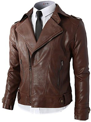 Men's Zip Closed Synthetic Leather Rider Jacket with Zipper Pockets