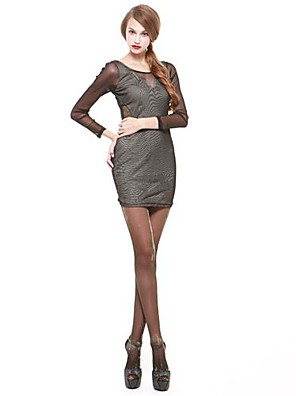 Women's Club Dress,Solid Above Knee Long Sleeve Gray / Green Polyester Spring / Fall / Winter