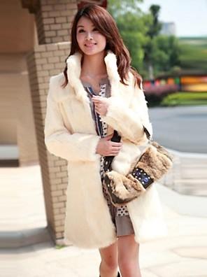 moda casual pura pele cor imitação longo casaco quente das mulheres