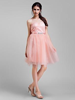 Lanting Bride® באורך  הברך טול שמלה הניתנת להמרה שמלה לשושבינה - גזרת A פלאס סייז (מידה גדולה) / פטיט עםחרוזים / סרט / בד נשפך בצד /