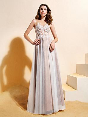ライン/王女のウェディングドレス床の長さの宝石レース/チュールをランティングランティング花嫁