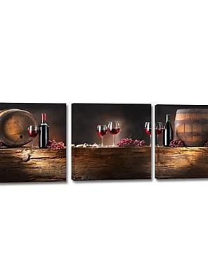 Reproducción en lienzo de arte Still Life Wine and Barrel Set de 3