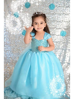 Girl's Pure color sequins princess dress JA