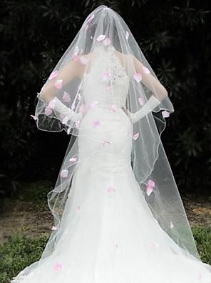 Véus de Noiva Uma Camada Peça para Cabeça com Véu Borda Enfeitada 110,24 em (280 centímetros) Organza
