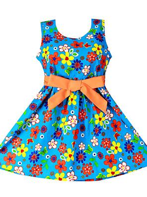 שמלה פרחוני כותנה אורגנית קיץ כחול הילדה של