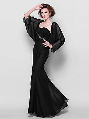 Trumpet / Mermaid Plus Size / Petite Mother of the Bride Dress - Wrap Included Floor-length 3/4 Length Sleeve Chiffon withAppliques /