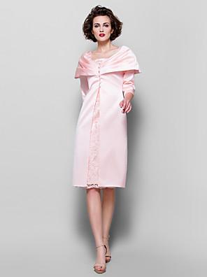 Tube / kolonne Plusstørrelse / Petite Kjole til brudens mor - Wrap er inkludert Knelang 3/4 ermer Blonder / Sateng - Knapper / Blonder