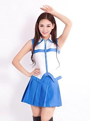 קיבל השראה מ סיפור אגדה Lucy Heartfilia אנימה תחפושות קוספליי חליפות קוספליי טלאים לבן / כחול בלי שרוולים וסט / חצאית
