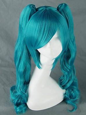 Perucas de Cosplay Vocaloid Hatsune Miku Azul Médio Anime/Games Perucas de Cosplay 75 CM Fibra Resistente ao Calor Feminino