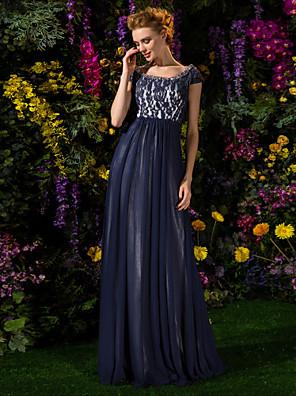 Lanting Bride® Linha A Tamanhos Grandes / Mignon Vestido Para Mãe dos Noivos Longo Manga Curta Renda / Tule - Miçangas / Pregueado /
