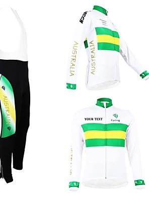 KOOPLUS® חולצת ג'רסי וטייץ ביב לרכיבה לנשים / לגברים / יוניסקס שרוול ארוך אופנייםנושם / שמור על חום הגוף / בטנת פליז / רוכסן עמיד למים /