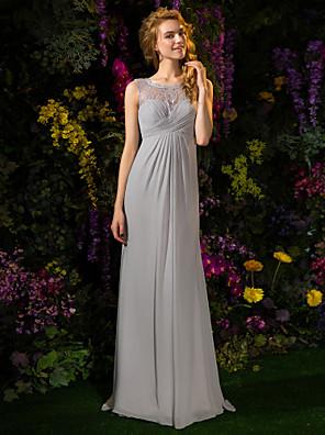 Lanting Bride® שובל סוויפ \ בראש תחרה / ג'ורג'ט שמלה לשושבינה - גזרת A עם תכשיטים פלאס סייז (מידה גדולה) / פטיט עםכפתורים / תחרה / בד