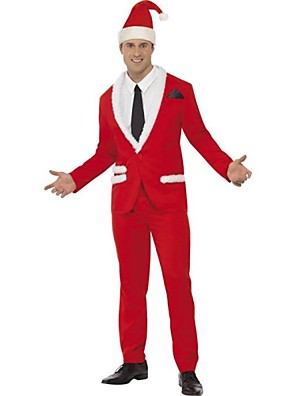 Cosplay Kostuums Kerstmanpakken Festival/Feestdagen Halloween Kostuums Rood Jas / Blouse / Broeken / Hoed / Stropdas Kerstmis Mannelijk
