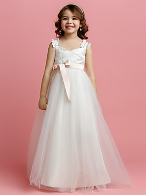 A-line Floor-length Flower Girl Dress - Tulle Sleeveless Straps with Bow(s) / Lace / Sash / Ribbon